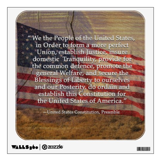 Us Constitution Preamble Over Textured Background Wall