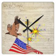 US Constitution Square Wallclock