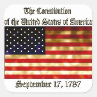 US Constitution Square Sticker