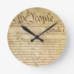US Constitutional Freedoms - Know Your Rights! Round Wall Clocks