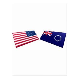 US & Cook Islands Flags Postcard