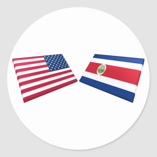 US & Costa Rica Flags Classic Round Sticker