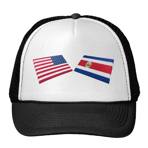 US & Costa Rica Flags Hats