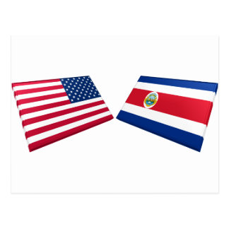 US & Costa Rica Flags Postcard