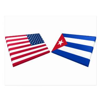 US & Cuba Flags Postcard