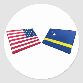 US & Curacao Flags Classic Round Sticker