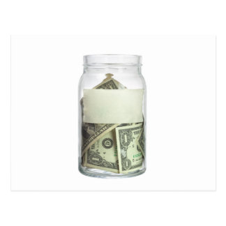 US currency in a jar Postcard