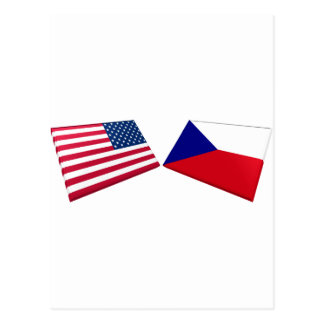 US & Czech Flags Postcard