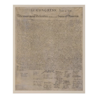 US Declaration of Independence Poster