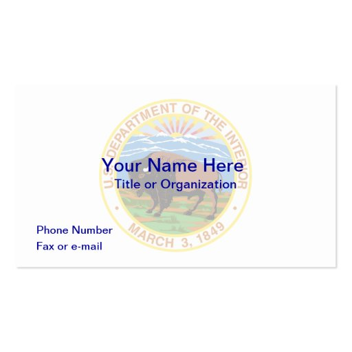 US Department of Interior Business Card