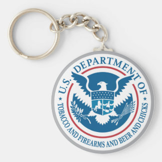US Department of Tobacco and Firearms and Beer Keychain