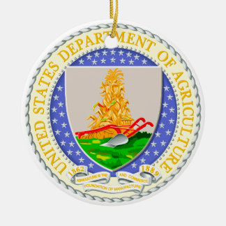 US Dept Of Agriculture Seal Double-Sided Ceramic Round Christmas Ornament