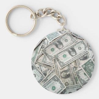 US Dollar Basic Round Button Keychain