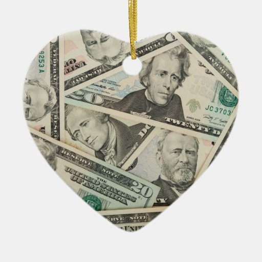 US Dollars Background Double-Sided Heart Ceramic Christmas Ornament