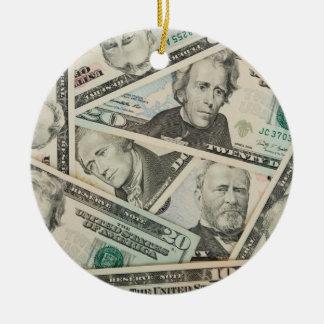 US Dollars Background Christmas Tree Ornament