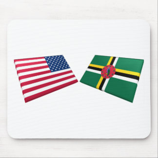 US & Dominica Flags Mouse Pad