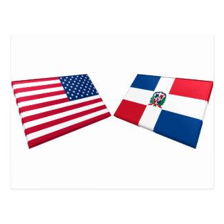 US & Dominican Republic Flags Postcard