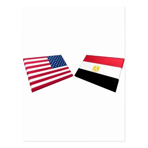 US & Egypt Flags Postcard