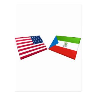 US & Equatorial Guinea Flags Postcard