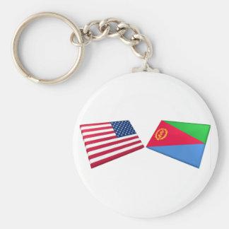 US & Eritrea Flags Basic Round Button Keychain