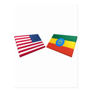 US & Ethiopia Flags Post Card
