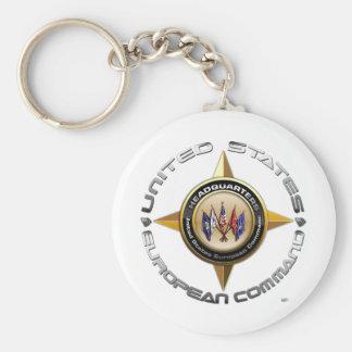 US European Command Basic Round Button Keychain