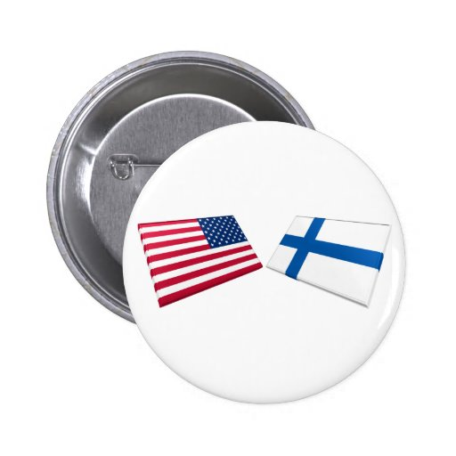 US & Finland Flags Button