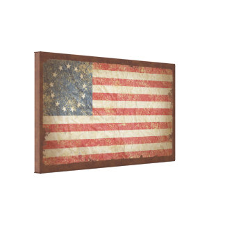 US Flag 1776 Stretched Canvas Prints