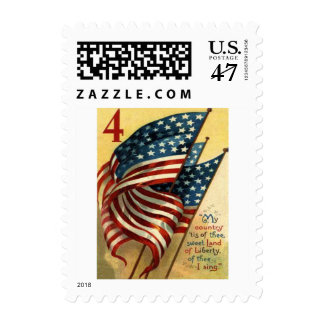 US Flag 4th of July Postage Stamp