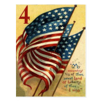 US Flag 4th of July Postcard
