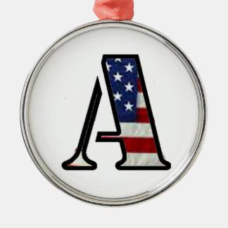 """US Flag """"A"""" Metal Ornament"""
