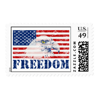US Flag & American Bald Eagle FREEDOM Stamps