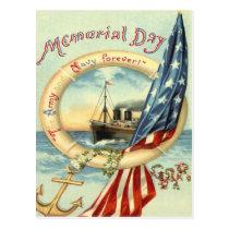 US Flag Anchor Flowers Life Preserver Postcard