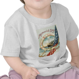 US Flag Anchor Flowers Life Preserver Tee Shirt
