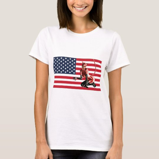 US Flag and a Cat Woman T-Shirt