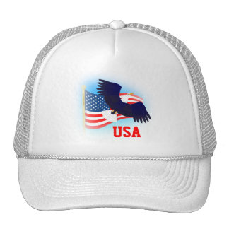 US Flag and Eagle Trucker Hat