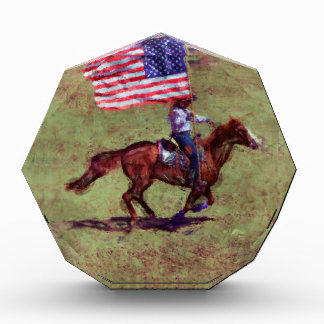 US Flag and Horse Cowgirl American Rodeo Art Acrylic Award