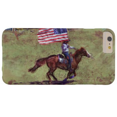 US Flag and Horse Cowgirl American Rodeo Art Barely There iPhone 6 Plus Case