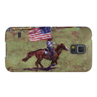 US Flag and Horse Cowgirl American Rodeo Art Galaxy S5 Case