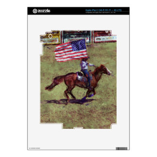 US Flag and Horse Cowgirl American Rodeo Art iPad 3 Decal