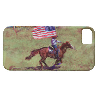 US Flag and Horse Cowgirl American Rodeo Art iPhone SE/5/5s Case