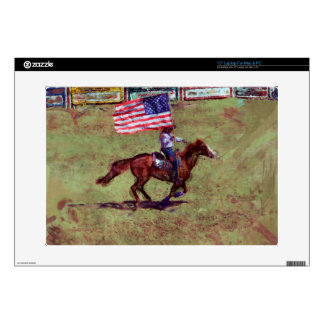 US Flag and Horse Cowgirl American Rodeo Art Laptop Decal