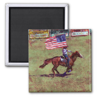 US Flag and Horse Cowgirl American Rodeo Art 2 Inch Square Magnet