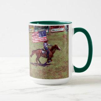 US Flag and Horse Cowgirl American Rodeo Art Mug