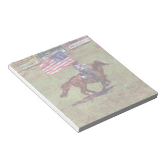 US Flag and Horse Cowgirl American Rodeo Art Notepad