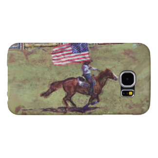 US Flag and Horse Cowgirl American Rodeo Art Samsung Galaxy S6 Case