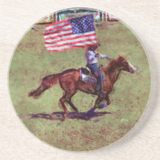 US Flag and Horse Cowgirl American Rodeo Art Sandstone Coaster