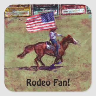 US Flag and Horse Cowgirl American Rodeo Art Square Sticker