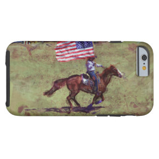 US Flag and Horse Cowgirl American Rodeo Art Tough iPhone 6 Case