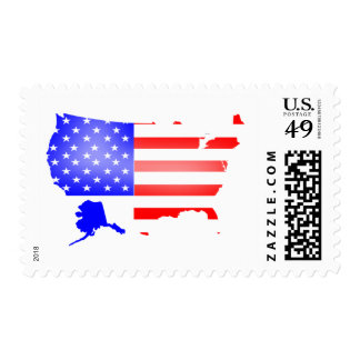 US flag and map Postage Stamps